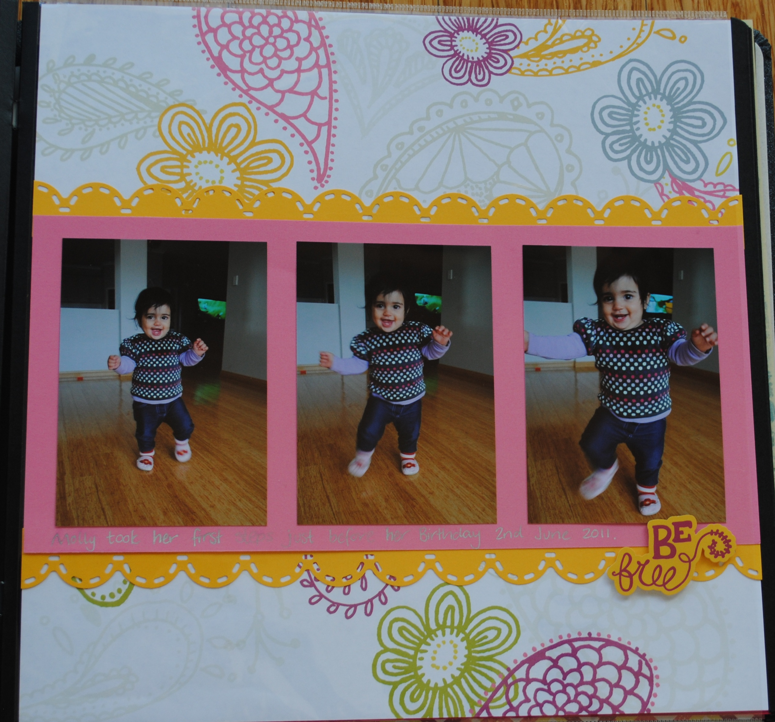 Scrapbook ideas creative memories - This Page Was Created Using Be Young Girl Additions Kit By Creative Memories I Used Taffy Pink Cardstock To Back Photos And Gold Cardstock For The