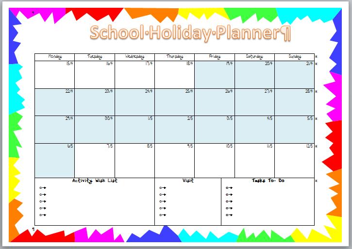 School Holiday Planner - The creative Mummy